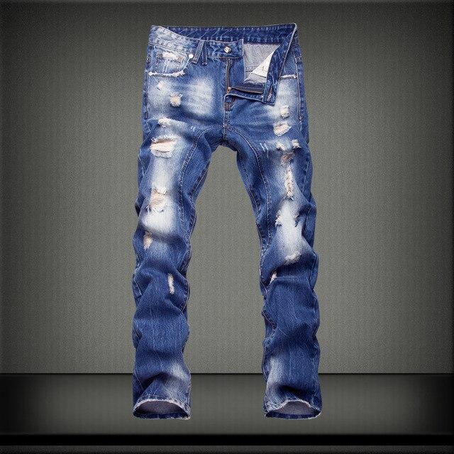 2016 Nueva Llegada de La Manera Delgada Recta Marca Leisure & Casual Jeans Hombres, Venta Caliente de Mezclilla Azul Oscuro de Algodón de Los Hombres Jeans, Y1002