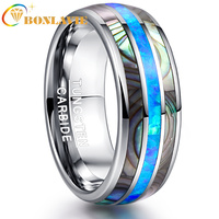 8MM Wide Inlaid Shells Blue Opal Tungsten Steel Mens Rings Never Fade Engagement Ring Free Shipping No Minimum Order Jewelry
