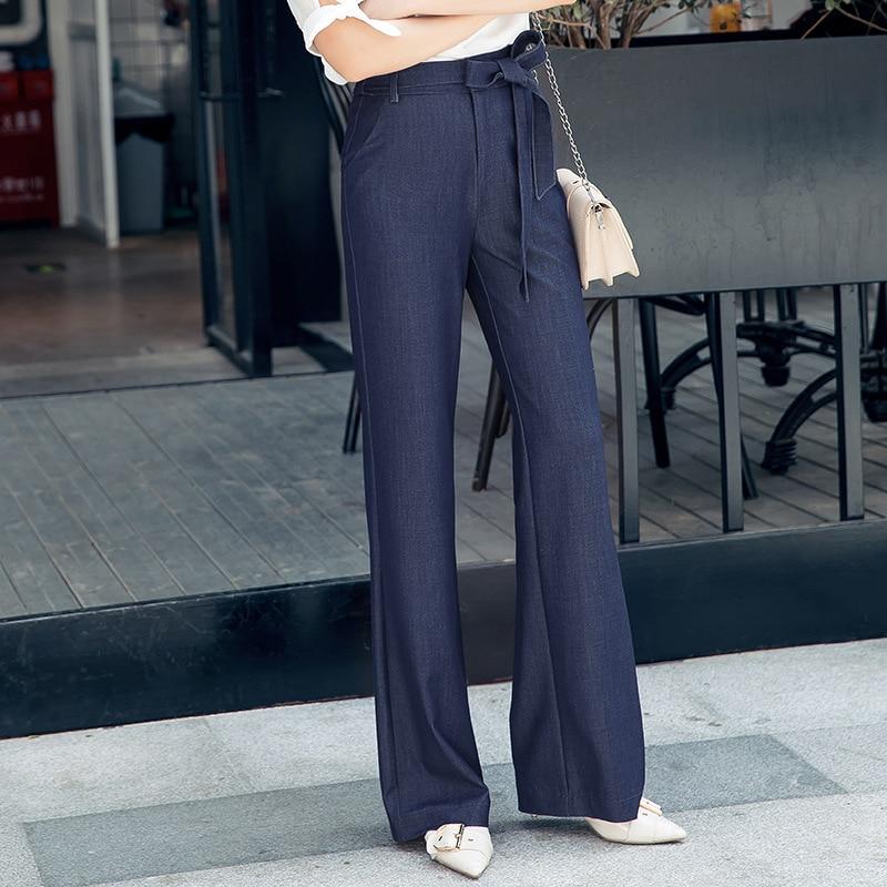 2019 automne nouveau décontracté cordon doux Denim Jeans Simple jambe large extensible pantalon léger bleu foncé grande taille avec ceinture