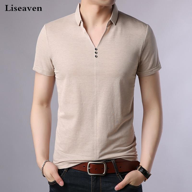 Liseaven Men Summer   Polos   2018 Short Sleeve Poloshirt Solid Color Men's Clothing Tops&Tees