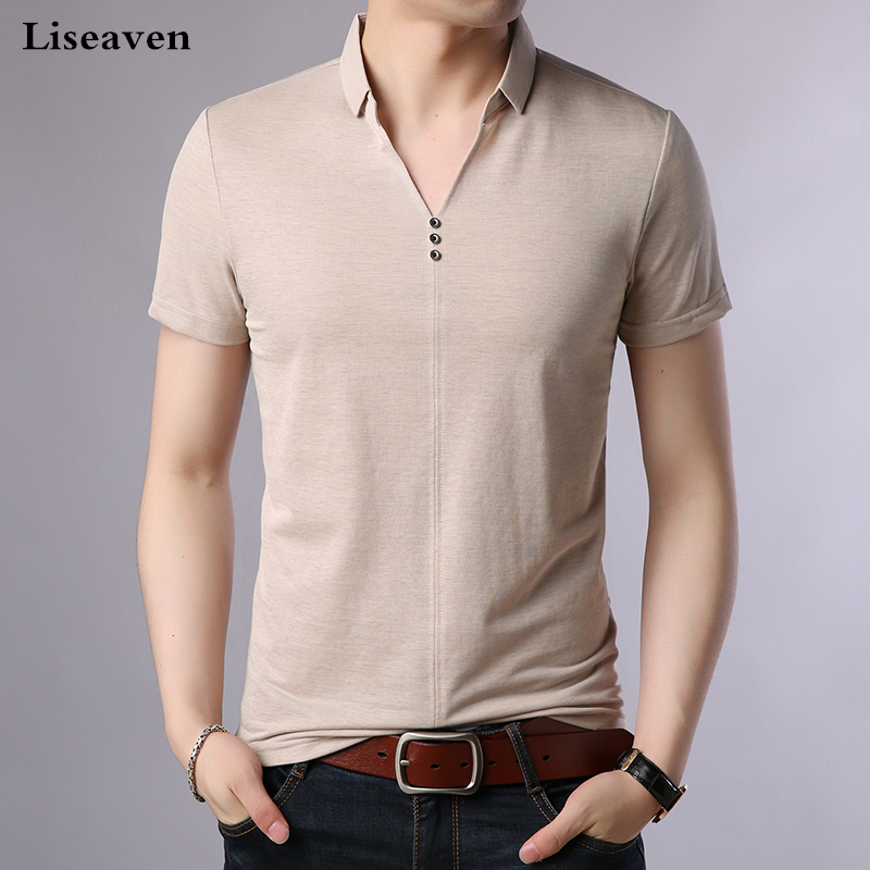 Liseaven Men Summer Polos 2018 Short Sleeve Poloshirt Solid Color Men's Clothing Tops&Tees