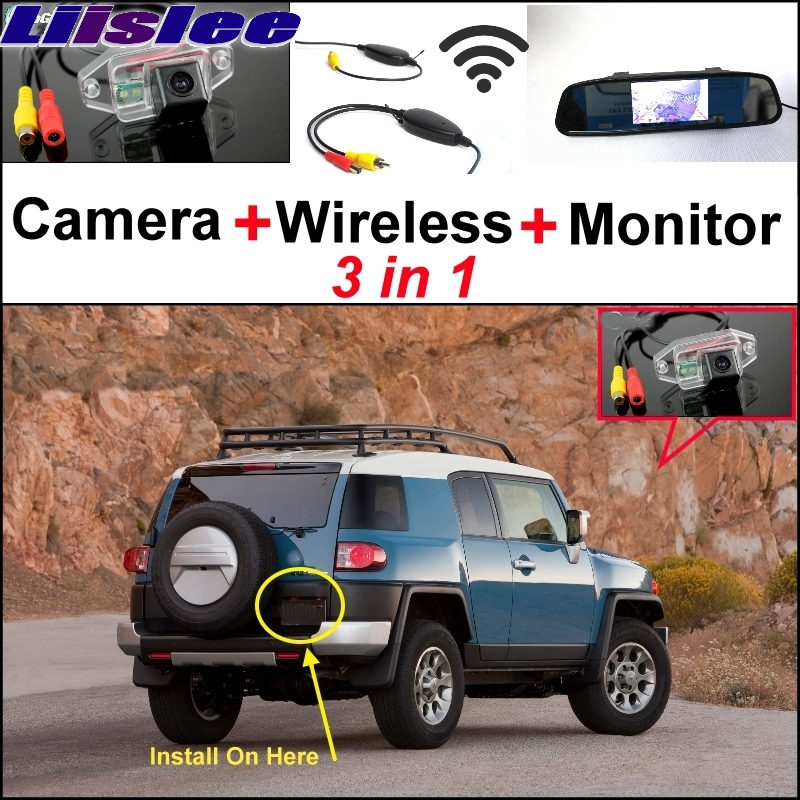 Liislee 3 in1 Special Rear View Camera + Wireless Receiver + Mirror Monitor Easy Back Up Parking System For TOYOTA FJ Cruiser wireless pager system 433 92mhz wireless restaurant table buzzer with monitor and watch receiver 3 display 42 call button
