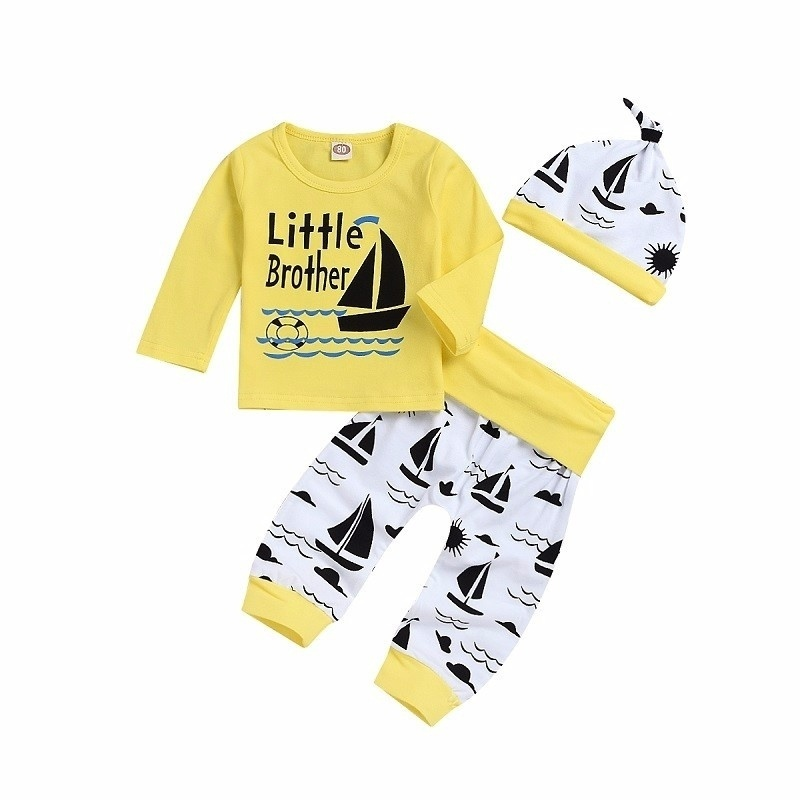 3pcs Toddler Infant Baby Letter Long Sleeve Tops Sailboat Printing Long Pant Hat Outfits Set in Clothing Sets from Mother Kids