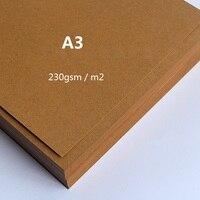 230g A3 простой коричневой крафт-матовая картонная бумага толстые картонные карточки для рукоделия, кардмейкинга 50 листов