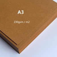 230g A3 Plain Brown Kraft Matte Cardstock Paper Thick Card Cardboard For Craft Cardmaking 50 Sheets