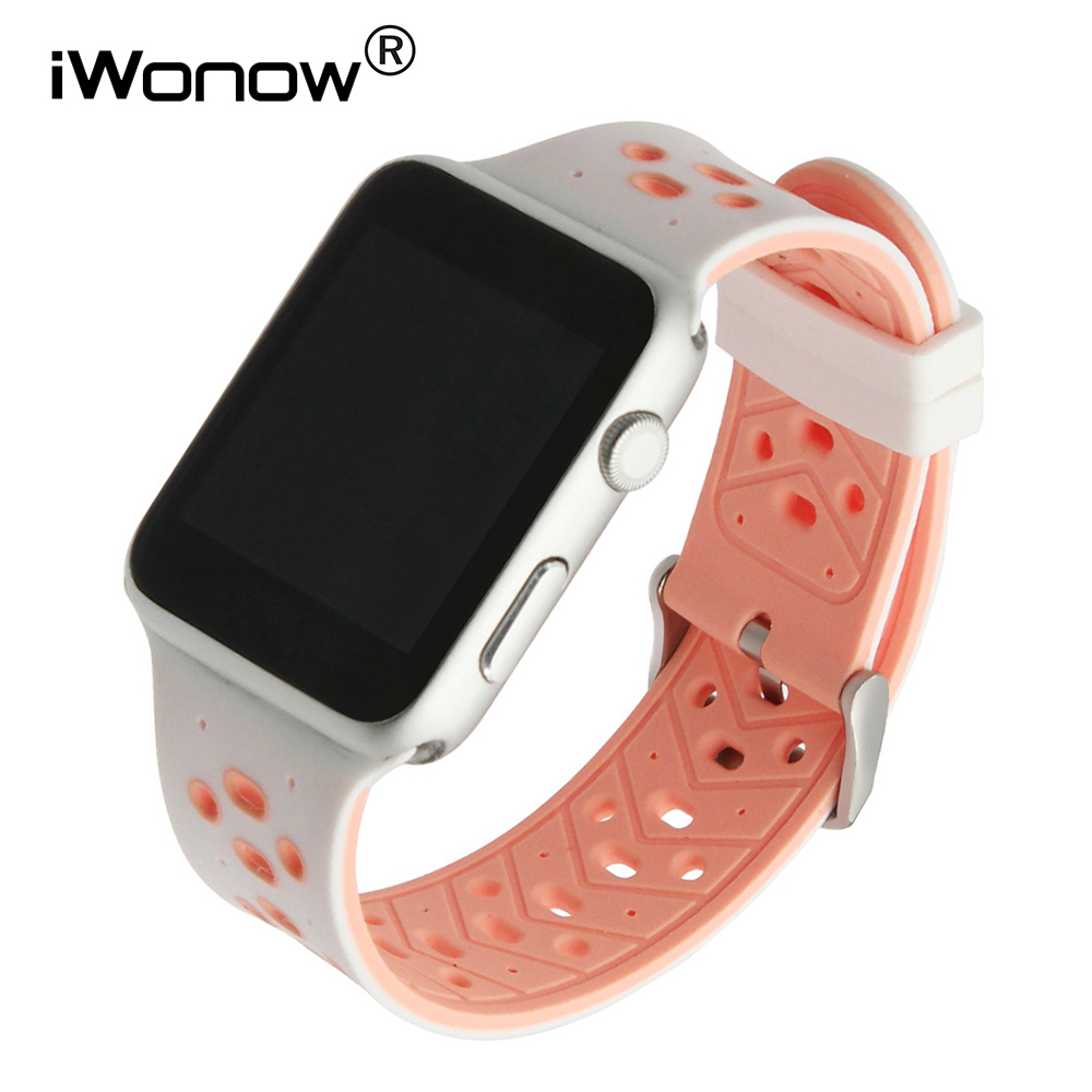 Silicone Watchband for iWatch Apple Watch 38mm 42mm Series 1 & 2 Rubber Band Sport Strap Steel Buckle Wrist Bracelet Pink Black wristband silicone bands for apple watch 42mm sport strap replacement for iwatch band 38mm classic stainless steel buckle clock