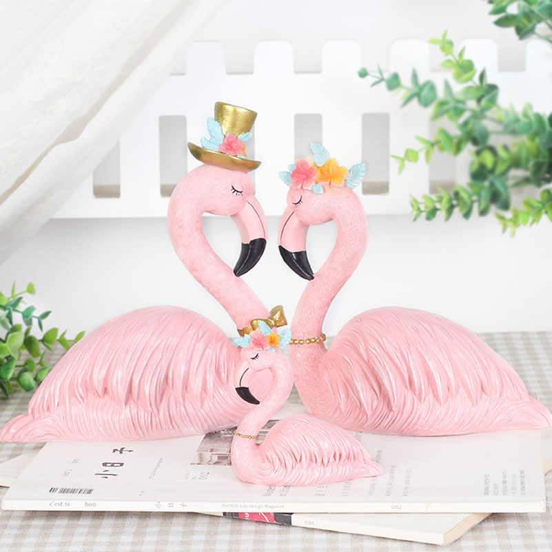 Resin Pink Flamingo Home Decor Figure for Girl Ins Hot Home Decor Gifts for Girl Cretive Gift for kids Friends