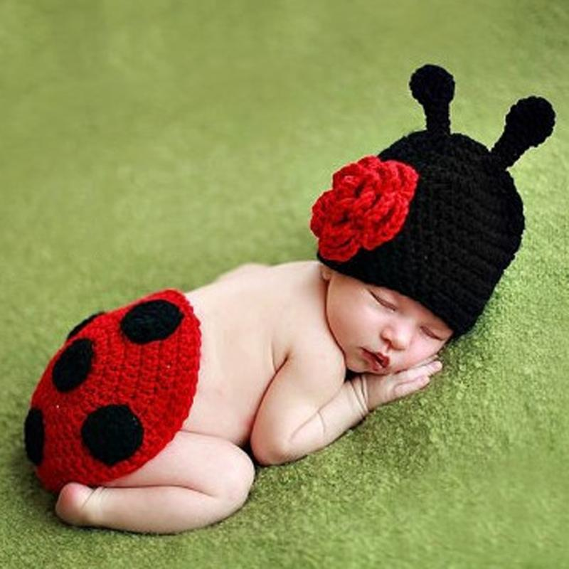 Baby Newborn Photography Props Accessories Ladybug Style Cotton Handmade Knit Crochet Baby Beanie Hat and Cover Set Fotografia