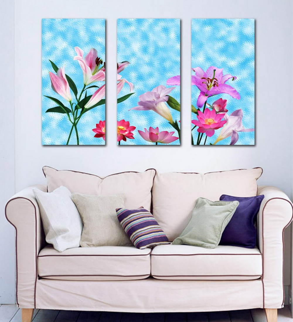 3 pieces wall art canvas oil painting prints romantic lily lotus bedroom wall decoration hanging pictures