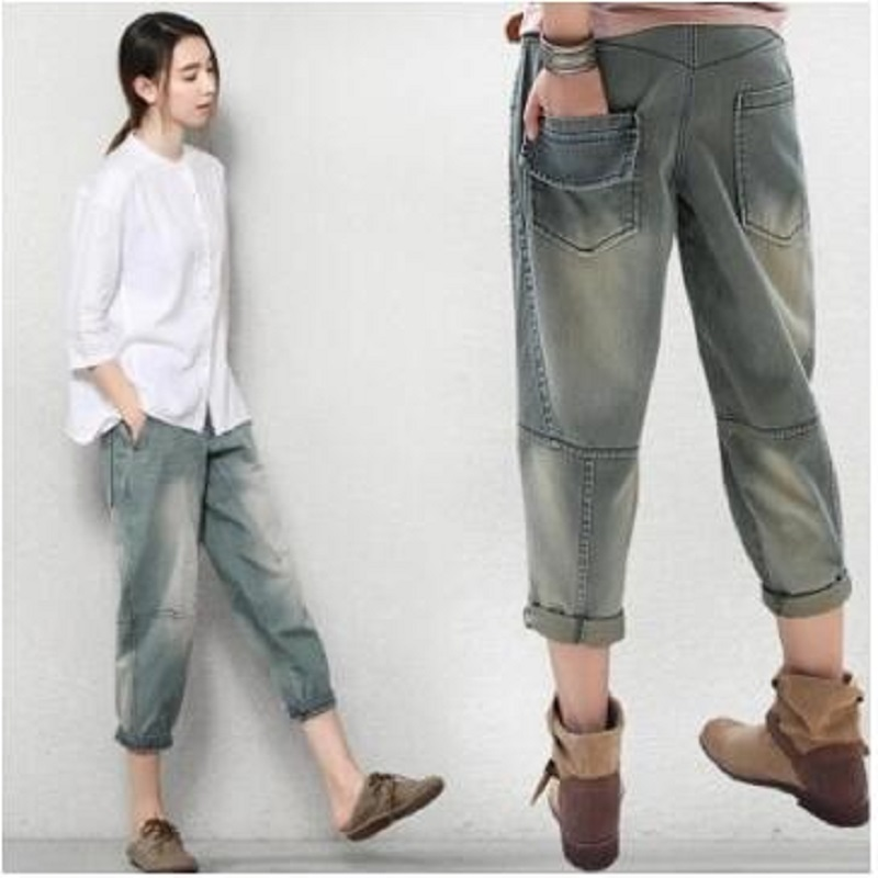 2018 Spring and Autumn New Women Casual 100% Cotton Loose Jeans Female Vintage Ankle Length Trousers Casual Harem Pants vgh high waist loose denim harem pants women black ankle length jeans pants big size female jean trousers casual clothing
