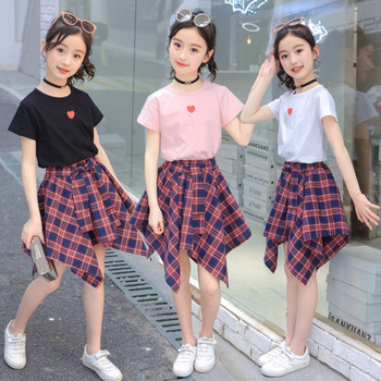 Summer Teen Kids Clothes Set For Girl Heart Pattern Tshirt+Plaid Skirt Suit For Girls Kids Outfits Teenage Clothing 4 8 to 12 14 spring autumn 3 12y girl suit set long sleeve top skirt girls clothing set cute owl costume for kids teenage clothes