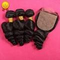 7А Перуанский Девственные Волосы 3 Расслоения С Шелковой Закрытия Свободной Волны с Шелковый База Закрытие Человеческие Волосы Расслоения С Шелковой База Закрытия