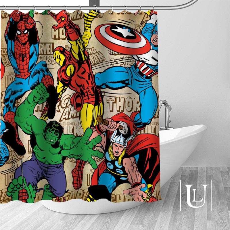 Detail Feedback Questions About Hot Custom Marvel Superhero Shower Curtains Polyester Bathroom With Hook Bath Curtain Decor On