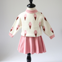 Girls Sweaters 2019 Spring and Autumn New Girls Ice Cream Sweater Set Baby Cute Sweet Set