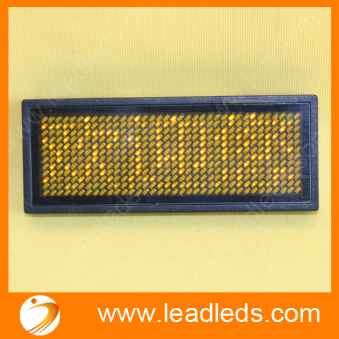 Manufacture Price Yellow Color Rechargeable Led Name Badge With Battery Mini Led Display