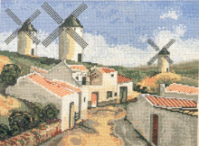 Fishxx Cross-Stitch,C313scenery[windmills town]full study of embroidered,100% accurate pattern,11CT,