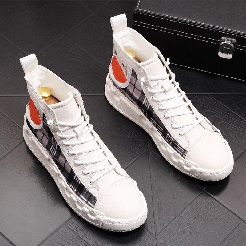 Ayakk.'ten Erkek Rahat Ayakkabılar'de Stephoes Lüks Marka Erkekler Rahat yarım çizmeler Ilkbahar Sonbahar Yüksek Üst erkek Vulkanize Rahat Ayakkabılar Yürüyüş günlük ayakkabı'da  Grup 1