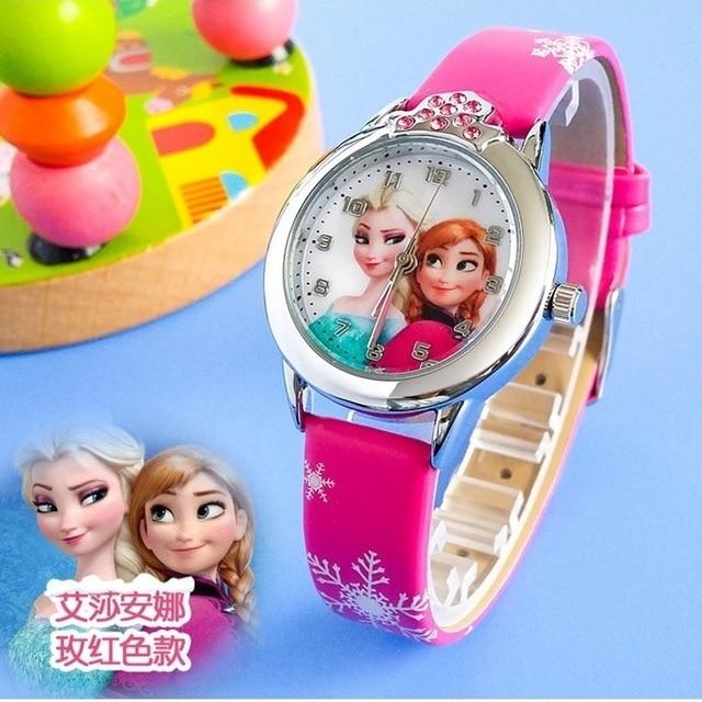 Fashion New Cartoon Children Watch Women Princess Elsa Anna Watches Kids Cute Leather quartz Watch Girl relogio feminino