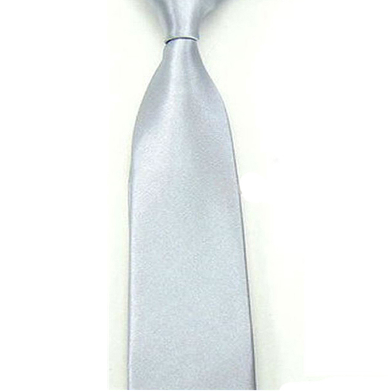 3605056144ab9e New Silver Colors Casual Women Men Ties Slim Plain Mens Solid Skinny Neck  Party Wedding Tie