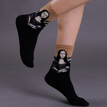 Free Shipping Women Art Cotton Crew Socks of Fashion Painting Van Gogh Character Pattern Harajuku Designer funny cool