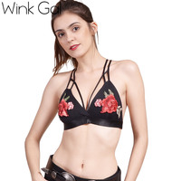 Wink Gal Sexy Black Push Up Bra Women Lingerie Embroidery Strappy Bra Deep V Wirefree Bralette