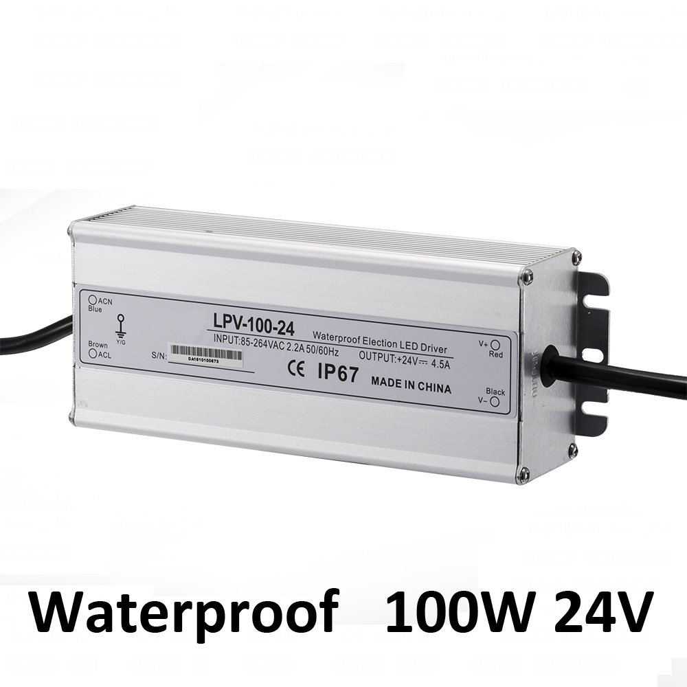 IP67 OUTDOOR 100w waterproof power supply 24VDC output 85-264vAC input LED Switching power supply AC DC adapter driver 24V 100W yj 100 240vac input 32v 6a adapter output switching power supply adapter for tda7498 amplifier