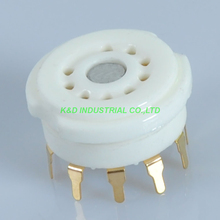 5pcs Ceramic 9Pin Gold plated PCB Mount Tube Socket For 12AT7 EL83 ECC83 12AX7 for Amplifier