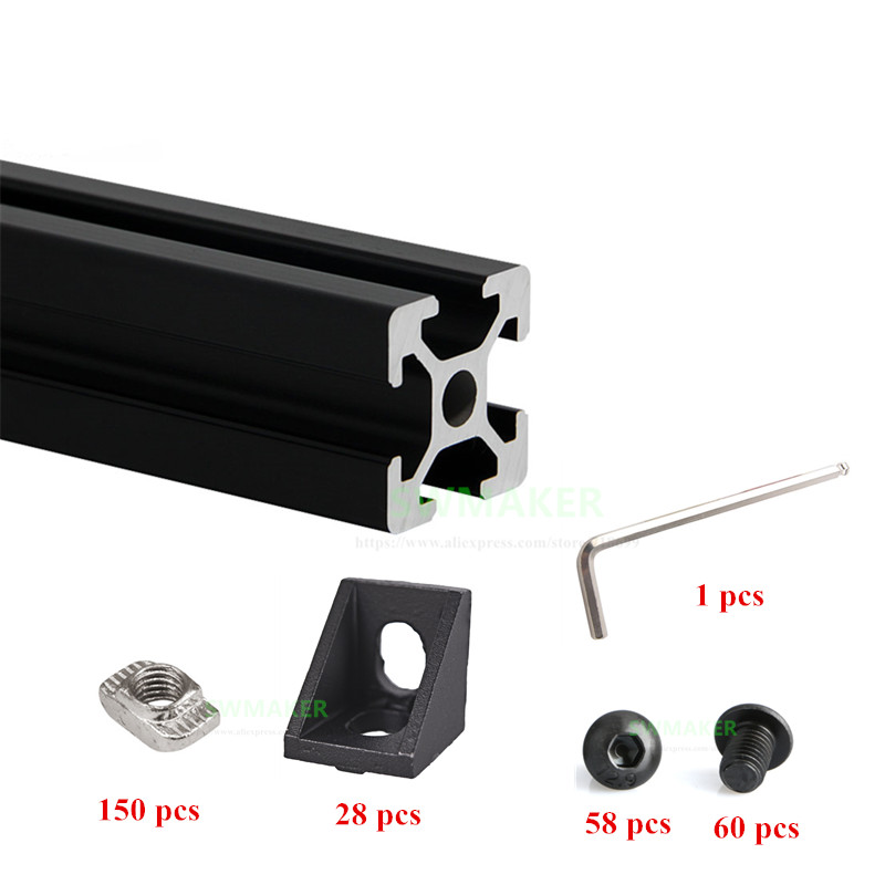1 Set Black HyperCube 3D Printer Aluminium Extrusion Profiles - 200mm Cubic Build Volume 3D Printer Frame Kit цена
