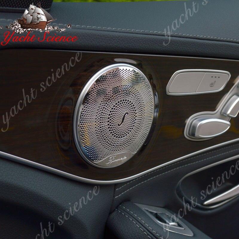 Car Styling Door Speaker Burmester Design Interior Mouldings Decoration For BENZ C Class W205 C180 C200