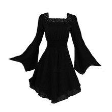 Harajuku Goth medieva dentelle col en V robe automne courte Mini robe obscurité mince Sexy fête Punk pansement petite robe plissée noire