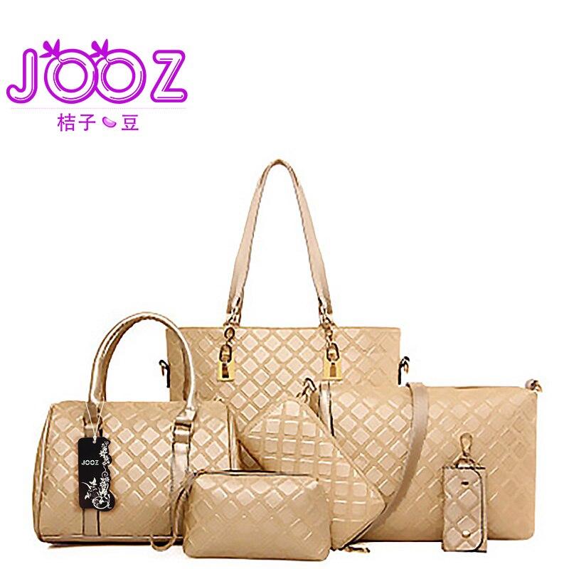 4c423c4377 2018 New Fashion Plaid PU Leather Woman Handbag 6 Pcs Composite Bags Set  Shoulder Crossbody Bag Purse Clutch Wallet Casual Tote