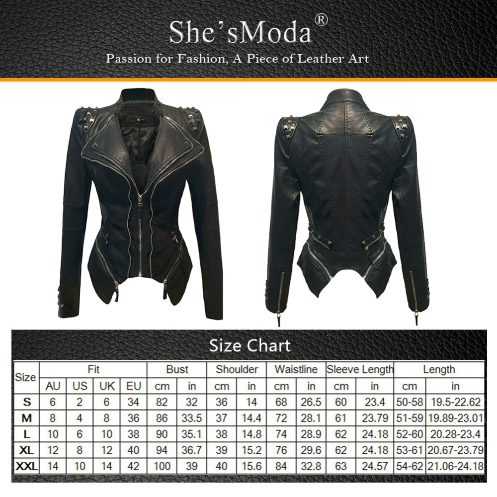 Womens Punk Rivet Spike Studded Shoulder PU Leather Lapel Tuxedo Coat Jacket NEW