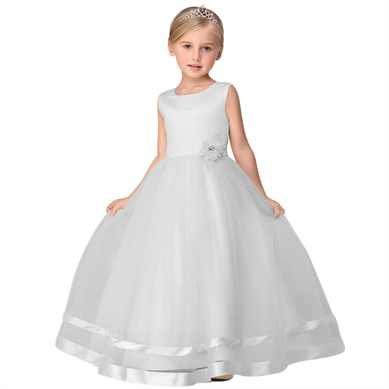 Retail High Quality Ankle-Length Flower Girls Dress With Ribbon Belt Mesh Ployster Tiered Girls Evening Prom Long Dress LP-62 knotted plunge long prom dress with slit