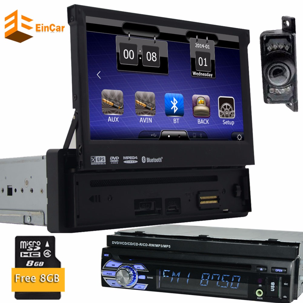 7inch Universal 1Din Car Audioradio DVD Player GPS Navigation car Multimedia player Stereo+Bluetooth+DVD Automotive+SD+USB+GPS