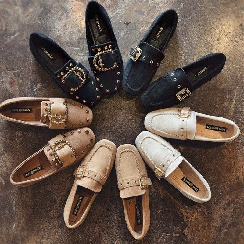 2019 Spring Autumn Women Ladies Shoes Flat Loafers Slip On   Suede     Leather   Boat Shoes Woman Metal Buckle Casual Female Shoes Flats