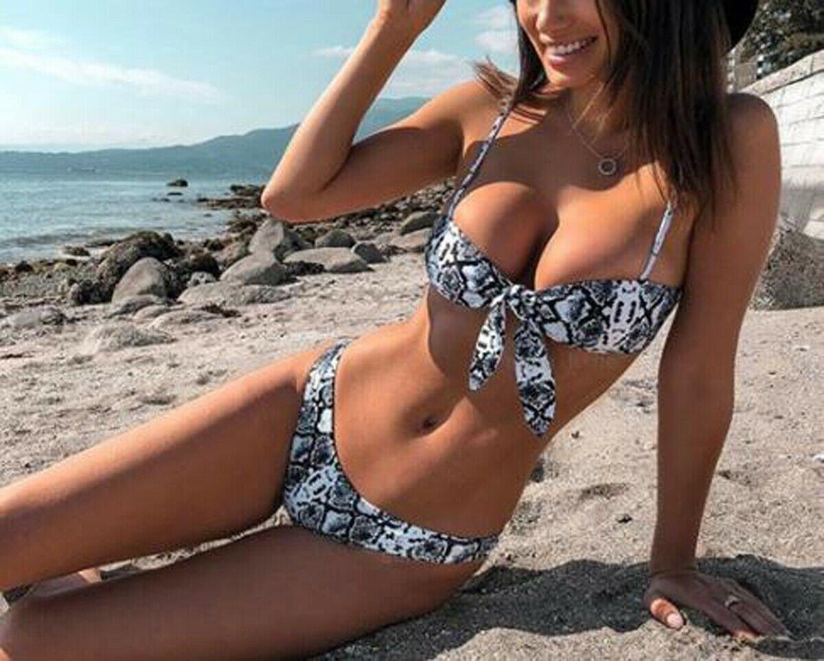 Sexy Women Snake Triangle   Bra     Sets   Padded Tops Thong Bottoms Swimwear Swimsuit