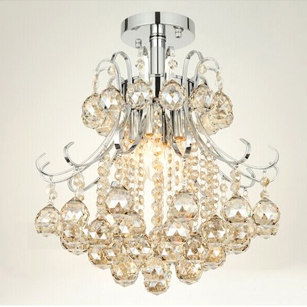 Mamei Free Chrome Finish Modern Mini Crystal Chandelier Bedroom Light With Cognac Color Ball Decoration In Chandeliers From Lights