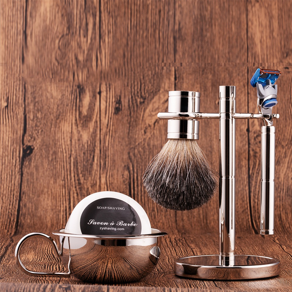 ZY Luxury Men Shaving Razor Set Fusione 5 Razor Badger Shaving Brush Barber Tool Stand Holder Shave Cream Soap Bowl Gift For Dad mens badger shaving brush stand razor holder and double head safety straight razor