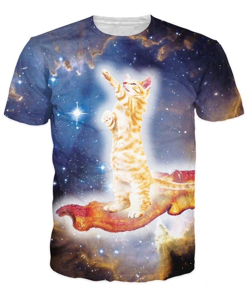 Unisex T-Shirts Summer Short Sleeve Tee Fashion 3D Cat Printing Funny Tops