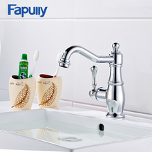 Fapully Bathroom Chrome Faucet Brass Vanity Sink Mixer Tap Single Handle Basin Sink Faucet Water Taps yanksmart led light waterfall bathtub chrome basin faucet water tap sink mixer vanity vessel sink mixers tap bathroom faucet