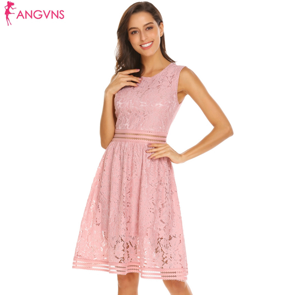 80834a1c981d ANGVNS Women Sleeveless Lace Hollow A-Line Party Dress Elegant O-Neck  Hollow Waist