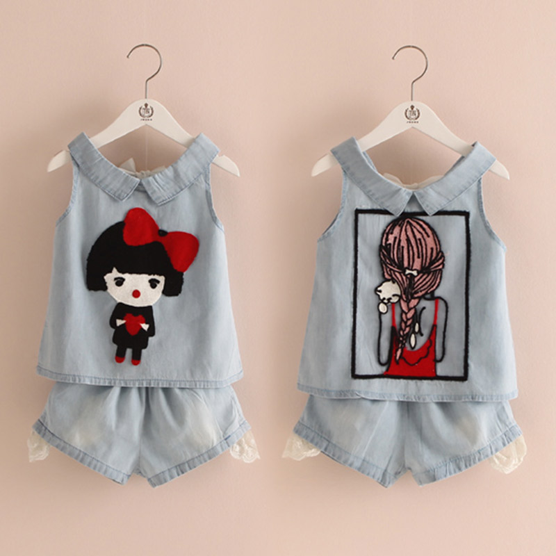 Summer new girls leisure Embroidered Denim Shorts two sets new summer