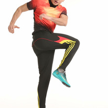 Тренировочные штаны для футбола, мужские футбольные брюки из полиэстера с карманами на молнии, спортивные штаны для бега, фитнеса, трениров...