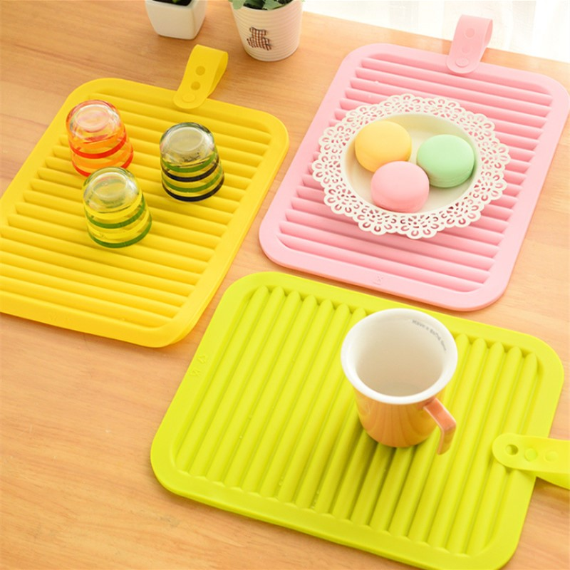 High Quality Folderable Rectangular Silicone Heat Insulation Dinner Table Mat Cup Mug Dish Coaster