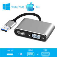 2020 USB 3,0 zu HDMI VGA Adapter Mac OS USB zu VGA HDMI Adapter 1080P Konverter Unterstützung HDMI VGA sync Ausgang für Windows7/8/10