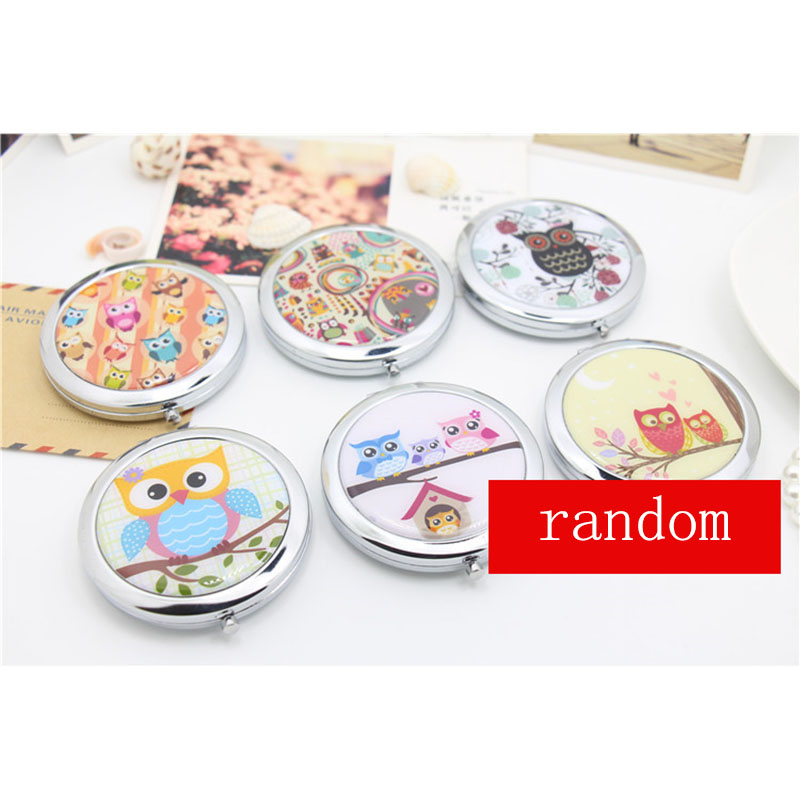 1 x Mini Party Gift Beauty Pocket Mirror Portable Double Sides Round Frame Lovely Cartoon Owl