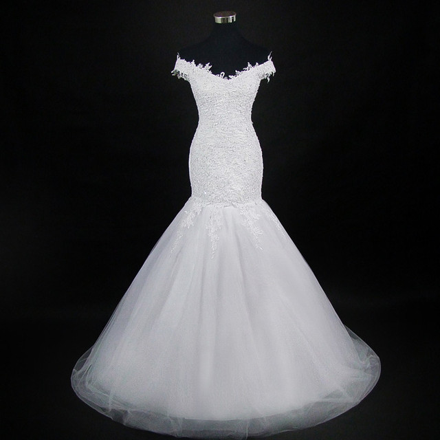 QQ Lover 2018 New Spaghetti Straps Mermaid Lace Wedding