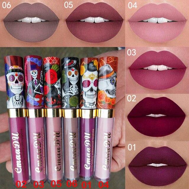 CmaaDu Новый бренд макияж 6 цветов матовая губная помада длительный жидкая губная помада бархат блеск для губ 2018 Красота Девушка
