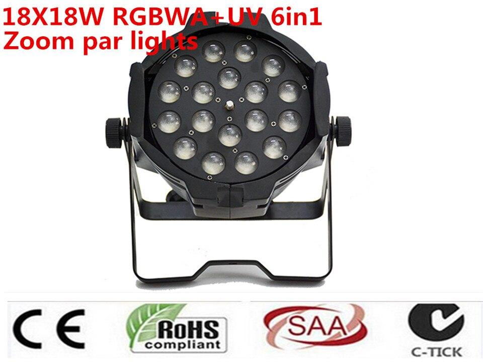 4 pz/loto 18x18 w zoom par luce dmx luci dj par 64 rgbwa uv 6in1 led par luce par dj party discoteca