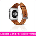 2015 New Genuine Leather Strap For Apple Watch 42mm 38mm With Original Stainless Steel Adapters Made By Top Layer Leather